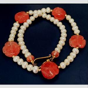 Pearl and rose quartz vintage necklace